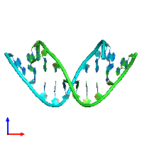 PDB 104d coloured by chain and viewed from the front.