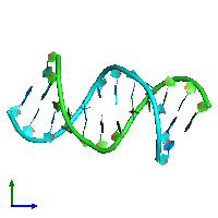 PDB 104d coloured by chain and viewed from the side.