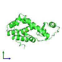 PDB 158l coloured by chain and viewed from the side.