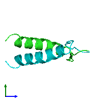 PDB 1a1u coloured by chain and viewed from the side.