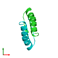 PDB 1a1u coloured by chain and viewed from the top.