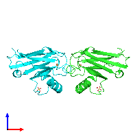 PDB 1a4b coloured by chain and viewed from the front.
