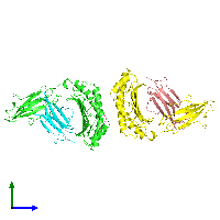 PDB 1a9b coloured by chain and viewed from the side.