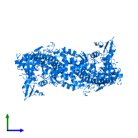 PDB 1ab4 contains 2 copies of DNA gyrase subunit A in assembly 1. This protein is highlighted and viewed from the side.