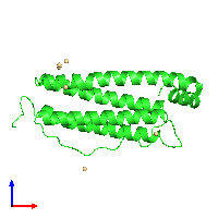 PDB 1aew coloured by chain and viewed from the front.