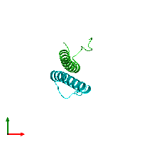 PDB 1afo coloured by chain and viewed from the top.