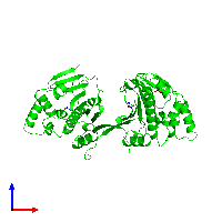 Dimeric assembly 1 of PDB entry 1ah8 coloured by chemically distinct molecules and viewed from the front.