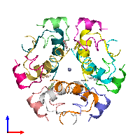 PDB 1aiy coloured by chain and viewed from the front.