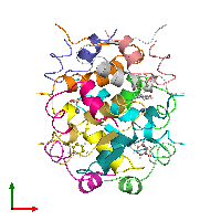 PDB 1aiy coloured by chain and viewed from the top.