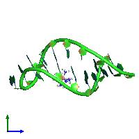 PDB 1ajf coloured by chain and viewed from the side.
