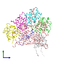 PDB 1al0 coloured by chain and viewed from the side.