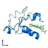 PDB 1aqa contains 1 copy of Cytochrome b5 in assembly 1. This protein is highlighted and viewed from the front.