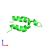 PDB 1aty coloured by chain and viewed from the front.