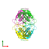 PDB 1aug coloured by chain and viewed from the top.