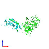 PDB 1aui coloured by chain and viewed from the front.