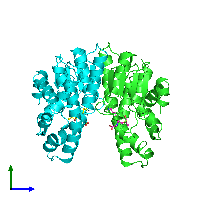 PDB 1axd coloured by chain and viewed from the side.