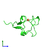 PDB 1b13 coloured by chain and viewed from the side.