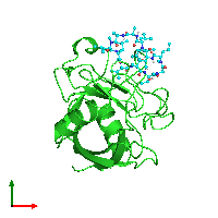 PDB 1bck coloured by chain and viewed from the top.