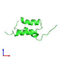 PDB 1bdd coloured by chain and viewed from the front.