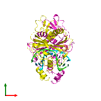 PDB 1bgb coloured by chain and viewed from the top.
