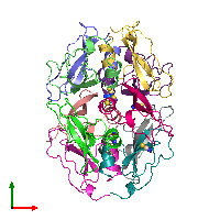 PDB 1bhc coloured by chain and viewed from the top.