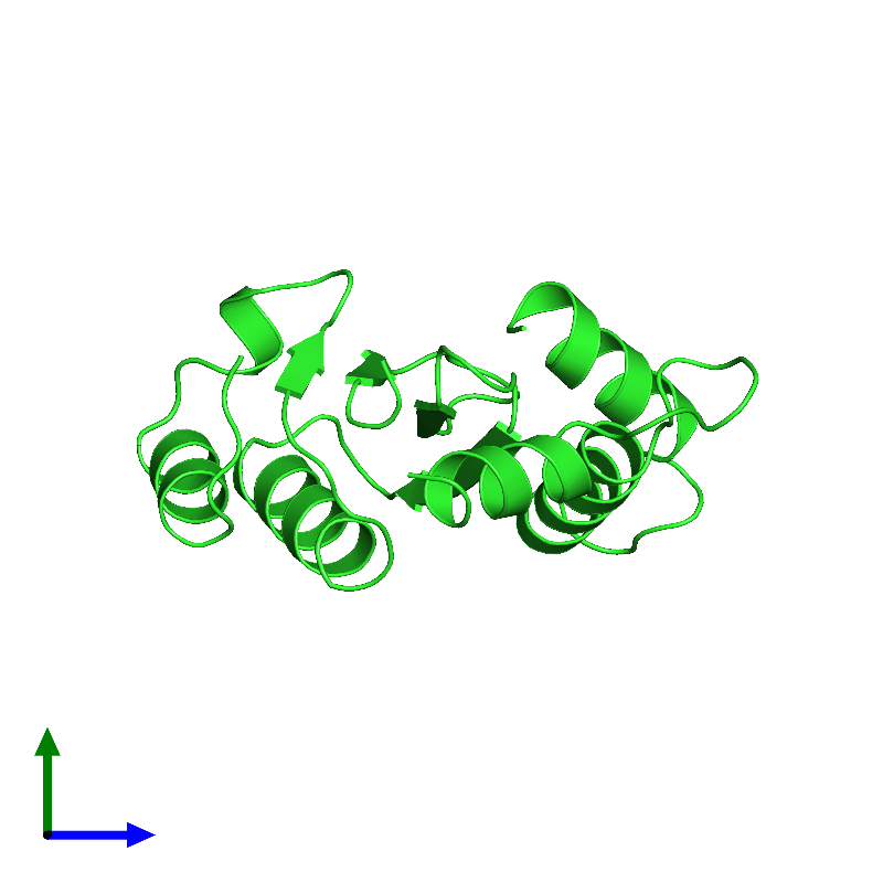 <div class='caption-body'><ul class ='image_legend_ul'>The deposited structure of PDB entry 1bhl coloured by chain and viewed from the side. The entry contains: <li class ='image_legend_li'>1 copy of Integrase</li><li class ='image_legend_li'>There are no non-polymeric molecules</li></ul></li></ul></li></div>