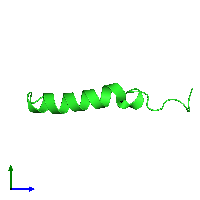 PDB 1bm4 coloured by chain and viewed from the side.
