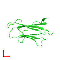 PDB 1bmg coloured by chain and viewed from the front.