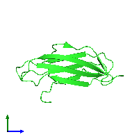 PDB 1bmg coloured by chain and viewed from the side.