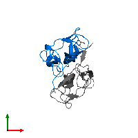 PDB 1bnd contains 1 copy of Brain-derived neurotrophic factor in assembly 2. This protein is highlighted and viewed from the top.