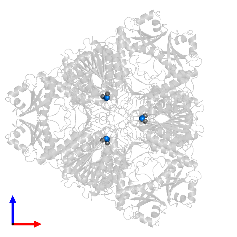 <div class='caption-body'>PDB entry 1bpm contains 6 copies of MAGNESIUM ION in assembly 1. This small molecule is highlighted and viewed from the front.</div>