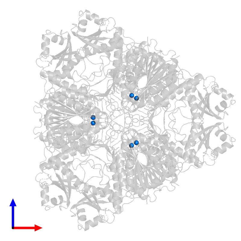 <div class='caption-body'>PDB entry 1bpm contains 6 copies of ZINC ION in assembly 1. This small molecule is highlighted and viewed from the front.</div>