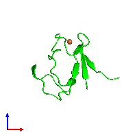 Monomeric assembly 1 of PDB entry 1brf coloured by chemically distinct molecules and viewed from the front.