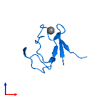 PDB 1brf contains 1 copy of Rubredoxin in assembly 1. This protein is highlighted and viewed from the front.