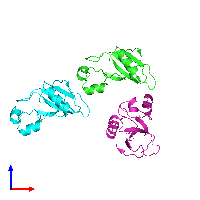 PDB 1bsd coloured by chain and viewed from the front.