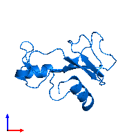 PDB 1bsd contains 1 copy of BARNASE in assembly 1. This protein is highlighted and viewed from the front.