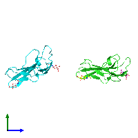 PDB 1bte coloured by chain and viewed from the side.