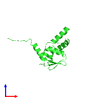 PDB 1buo coloured by chain and viewed from the front.
