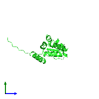 PDB 1buo coloured by chain and viewed from the side.