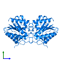 PDB 1bwp contains 2 copies of Platelet-activating factor acetylhydrolase IB subunit alpha1 in assembly 1. This protein is highlighted and viewed from the side.