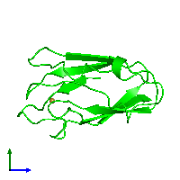Monomeric assembly 1 of PDB entry 1byo coloured by chemically distinct molecules and viewed from the side.