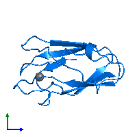 PDB 1byo contains 1 copy of PROTEIN (PLASTOCYANIN) in assembly 1. This protein is highlighted and viewed from the side.