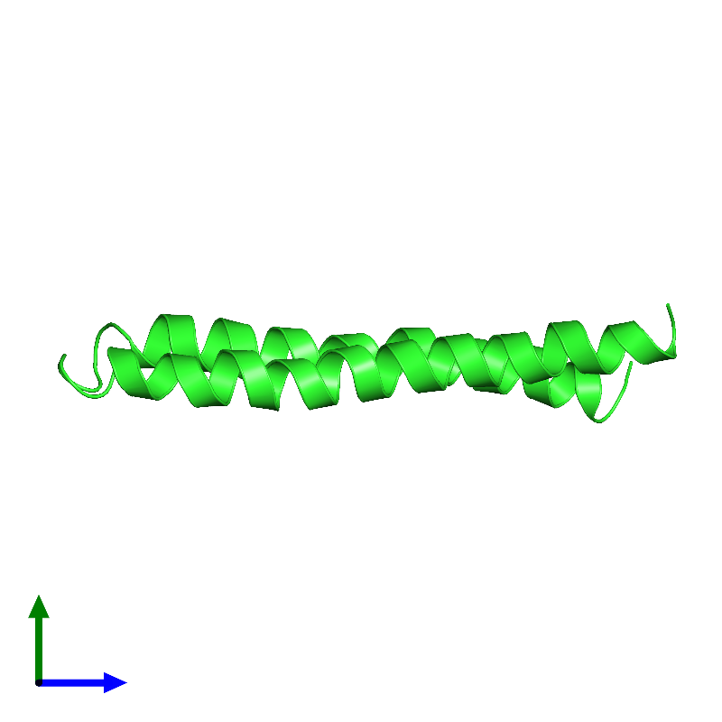 <div class='caption-body'><ul class ='image_legend_ul'>The deposited structure of PDB entry 1c0v coloured by chain and viewed from the side. The entry contains: <li class ='image_legend_li'>1 copy of PROTEIN (F1FO ATPASE SUBUNIT C)</li><li class ='image_legend_li'>There are no non-polymeric molecules</li></ul></li></ul></li></div>