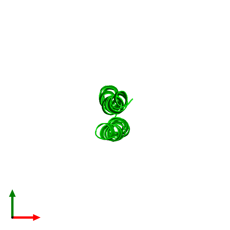 <div class='caption-body'><ul class ='image_legend_ul'>The deposited structure of PDB entry 1c0v coloured by chemically distinct molecules and viewed from the top. The entry contains: <li class ='image_legend_li'>1 copy of PROTEIN (F1FO ATPASE SUBUNIT C)</li><li class ='image_legend_li'>There are no non-polymeric molecules</li></ul></li></ul></li></div>