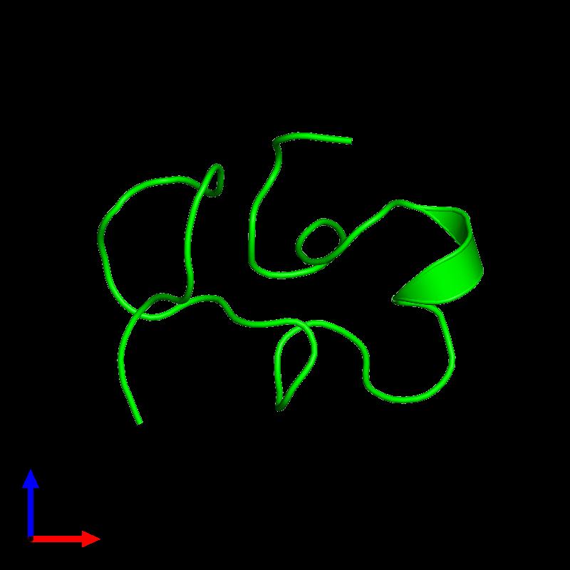 <div class='caption-body'><ul class ='image_legend_ul'>The deposited structure of PDB entry 1c2u coloured by chemically distinct molecules and viewed from the front. The entry contains: <li class ='image_legend_li'>1 copy of Kappa-stichotoxin-She3a</li><li class ='image_legend_li'>There are no non-polymeric molecules</li></ul></li></ul></li></div>