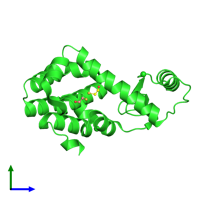 PDB 1c6p coloured by chain and viewed from the side.