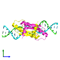 PDB 1c7u coloured by chain and viewed from the side.