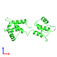 PDB 1cfd coloured by chain and viewed from the front.