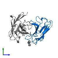 PDB 1cfv contains 1 copy of Ig kappa chain V-II region 26-10 in assembly 1. This protein is highlighted and viewed from the side.