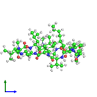 PDB 1csa coloured by chain and viewed from the side.